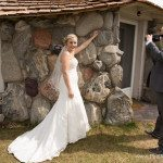 photo bride groom mushroom house wedding