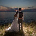 lake michigan wedding photo back light