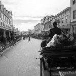 Horse drawn carriage mackinac island downtown photo