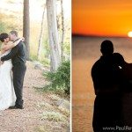 sunset wedding rustic woods photo