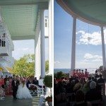 northern michigan mackinac island grand hotel porch wedding photo