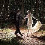 mackinac island back lit wedding photo