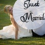 just married parasol northern michigan trash dress photo