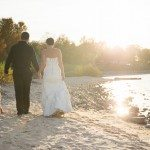 photo bride groom dog on beach