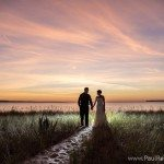 lake michigan beach wedding fall color photo