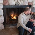winter fireplace engagement wedding photo