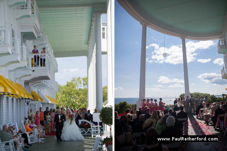 grand hotel mackinac island west porch bridge view wedding photo