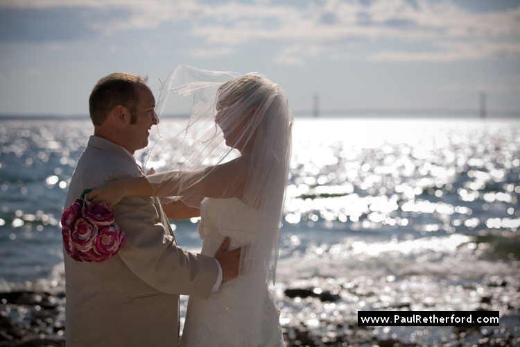 mackinac bridge wedding lake huron beach photo