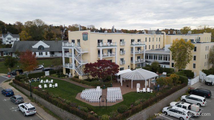 Staffords Perry Hotel Aerial Photo Northern Michigan Wedding Venue Location Drone Petoskey